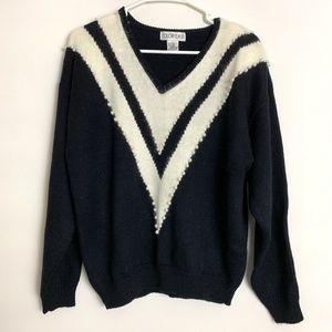Vintage Color Cues V-Neck Sweater Shoulder Pads